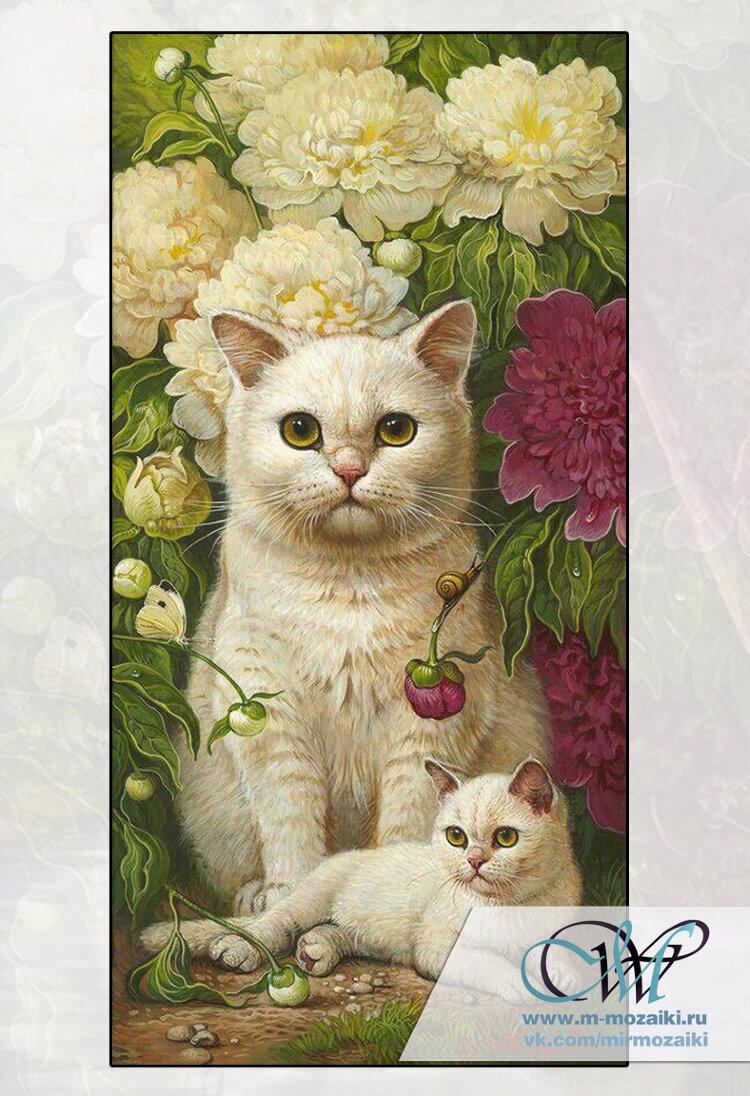 Алмазная мозаика Кошка с котенком